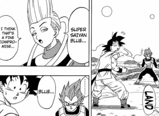 Whis training with Goku and Vegeta.