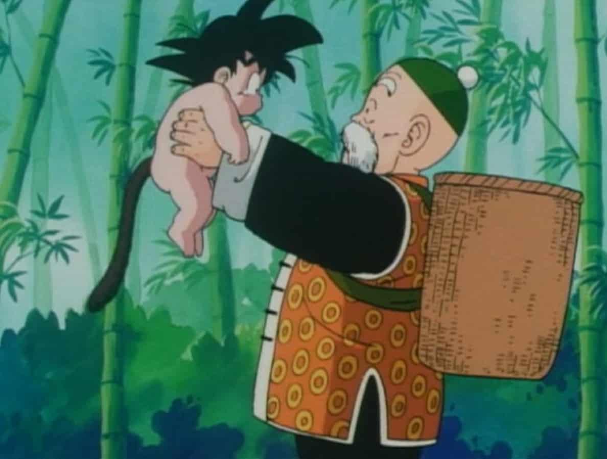 Son Gohan hugging Goku