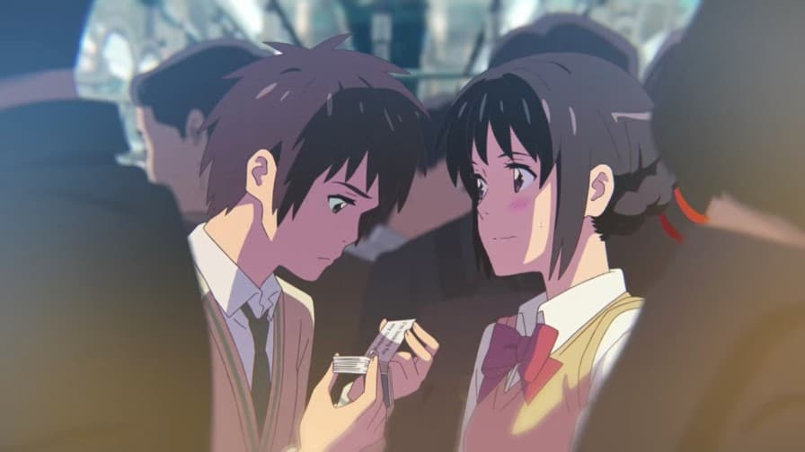 Taki and Mitsuha at the train