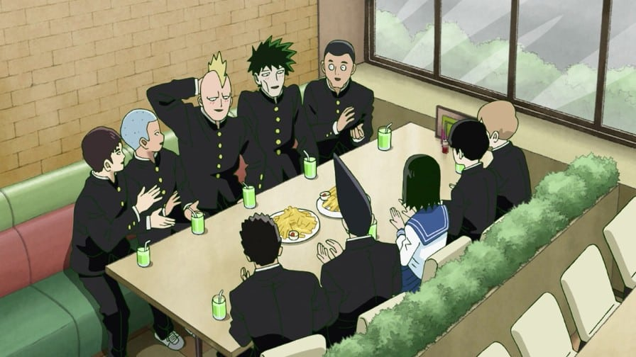 Mob, the Body Improvement and Telepathy Club having lunch