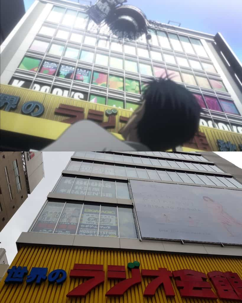 Okarin in front of Radio Kaikan, anime pilgrimage