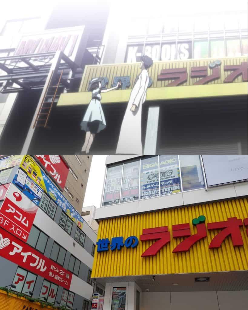 Okarin and Mayuri in Akihabara, anime pilgrimage